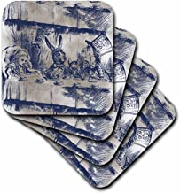 3dRose CST_110203_4 Alice in Wonderland Tea Party with Mad Hatter-Ceramic Tile Coasters, Set of 8