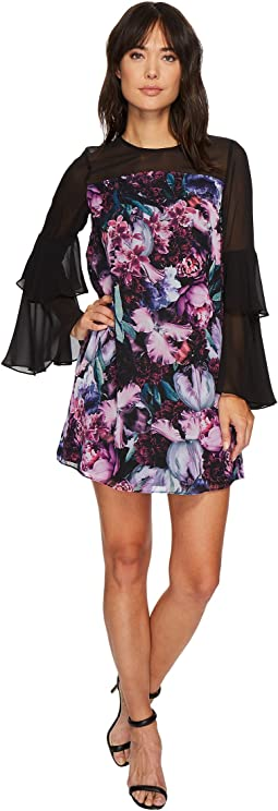 CeCe - Camille Tiered Sleeve Floral Dress