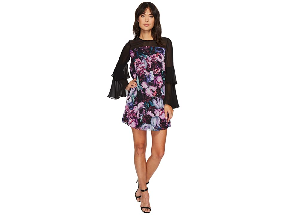 CeCe Camille Tiered Sleeve Floral Dress (Rich Black) Women