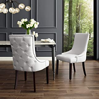 InspiredHome White Leather Dining Chair - Design: Oscar | Set of 2 | Back Tufted | Nailhead Trim Finish
