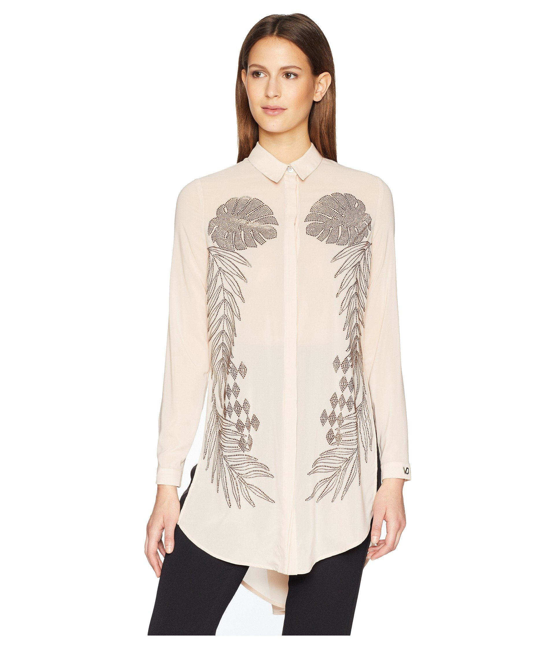 Blusa para Mujer Versace Jeans Sheer Button Up Tunic  + Versace en VeoyCompro.net