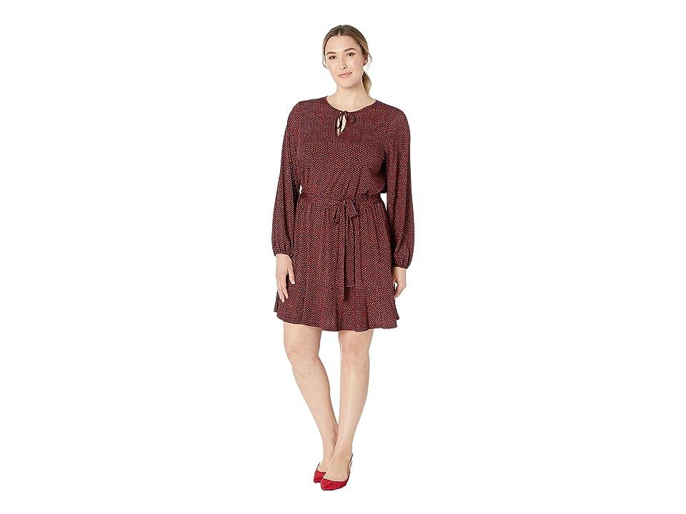 MICHAEL Michael Kors Plus Size Bud Keyhole Blouson Dress (True Navy/Bright Terra Cotta) Women