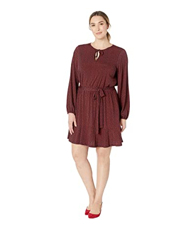 MICHAEL Michael Kors Plus Size Bud Keyhole Blouson Dress (True Navy/Bright Terra Cotta) Women