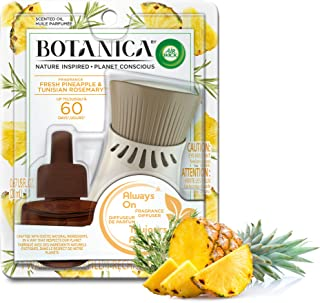 Botanica by Air Wick Plug in Scented Oil Starter Kit, 1 Warmer + 1 Refill, Fresh Pineapple and Tunisian Rosemary, Air Freshener, Essential Oils