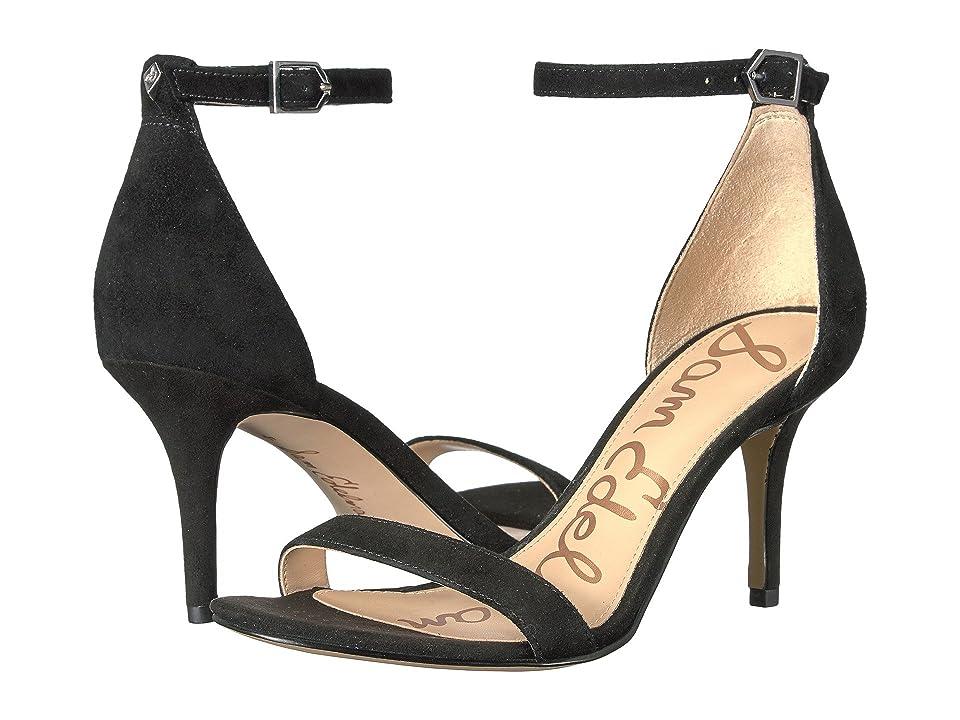 Sam Edelman Patti Strappy Sandal Heel (Black Kid Suede Leather) High Heels