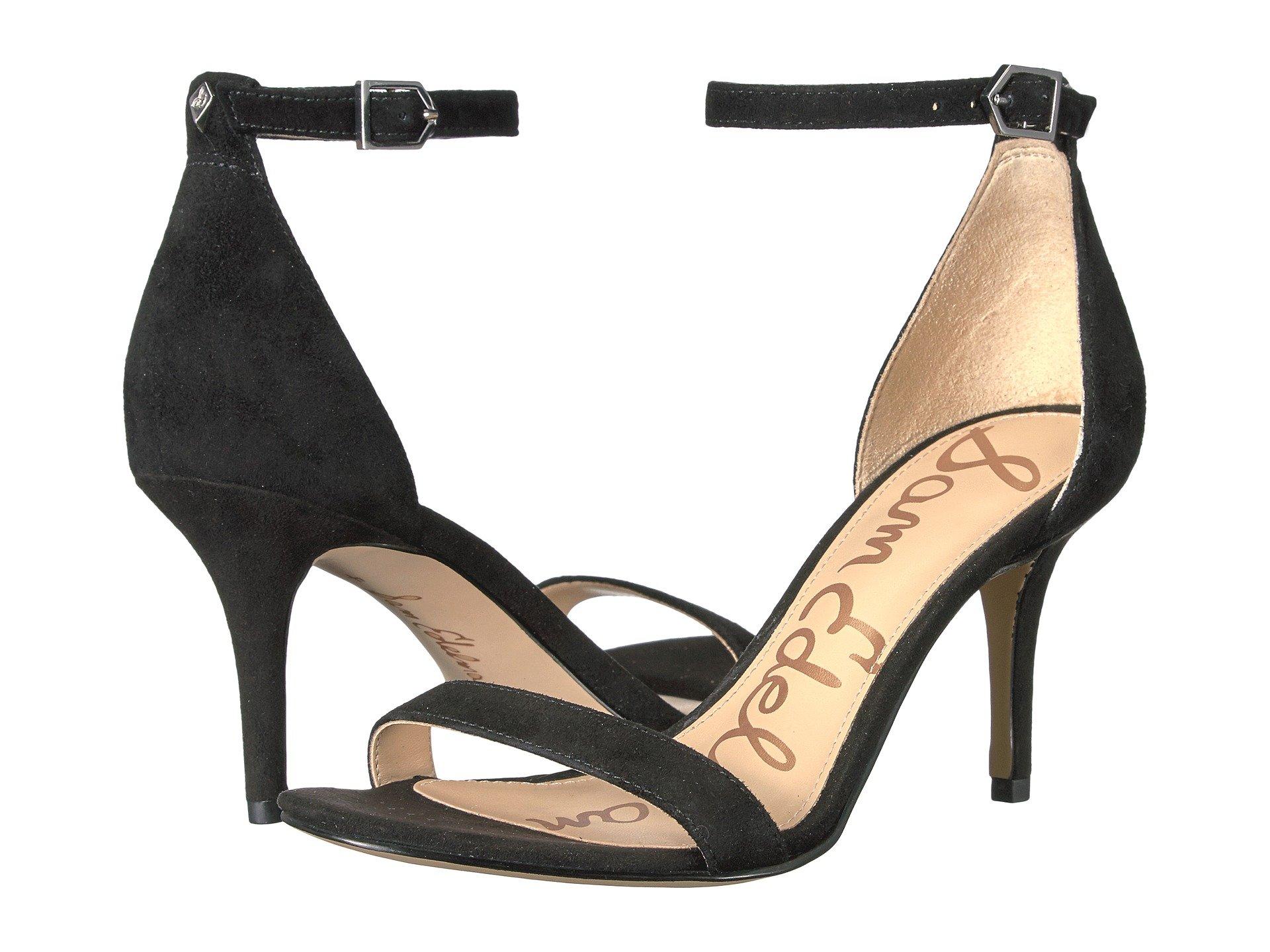 Strappy Heel Patti Black Kid Sandal Sam Leather Edelman Suede axEqBaz