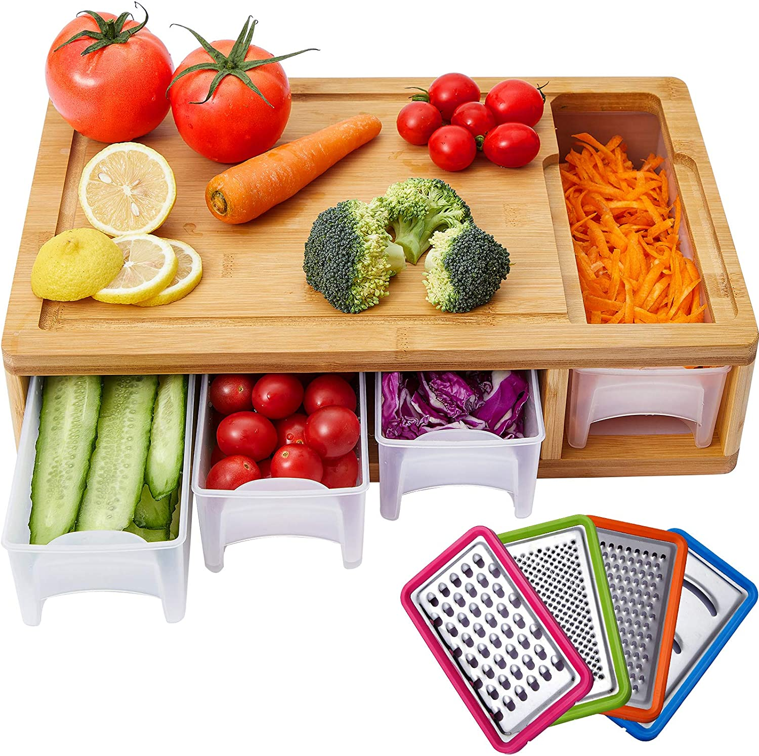 Large Nippon regular agency Kitchen Bamboo Cutting Board Transpa Trays Containers with Raleigh Mall