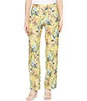 Printed Linen Elastic Waist Relaxed Pants with Pockets