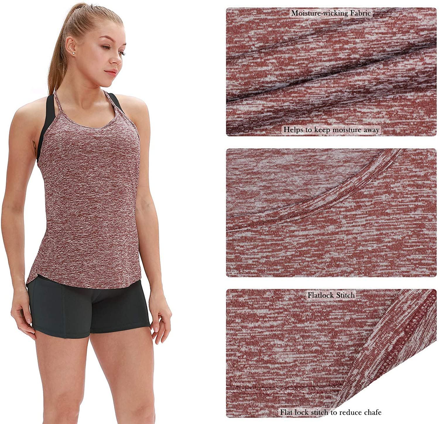 Athletic Yoga Tops Open Back Strappy Running Shirts icyzone Workout Tank Tops for Women Pack of 2