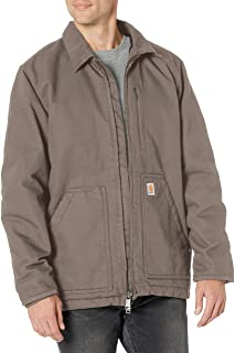 Men's Loose Fit Washed Duck Sherpa-Lined Coat