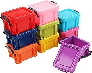9 Pcs (0,22 le Litre) Mini boîtes de rangement empilables en plastique avec pinces de fermeture sur le couvercle - Petites...