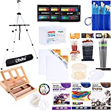 Artist Painting Set, 128Pcs Artist Set W/Table-Top & Field Easels, Art Painting Brushes, Paint Tubes, Painting Pads, Canvas Boards, Painting Knife for Oil, Watercolor, Acrylic Painting & Art Sketch
