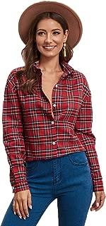 SweatyRocks Women's Casual Chiffon V Neck Plaid Long Sleeve Blouse Shirt Tops