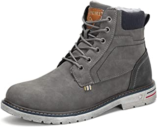 Mens Womens Winter Anti-Slip Leather Warm Snow Boots Water Resistant Shoes Fur Lined