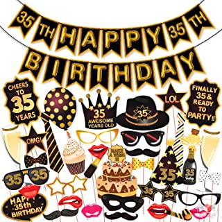 Wobbox 35th Birthday Photo Booth Party Props Brown & Golden Glitter with 35th Birthday Bunting Banner, Birthday Party Deco...