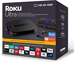 $96 » Roku Ultra Streaming Media Player 4K/HD/HDR | Premium JBL Headphones | Enhanced Voice Remote W/TV Controls and Personal Shortcuts W/HESVAP 3in1 Accessories