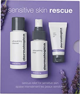 Dermalogica Sensitive Skin Rescue Kit - Set Contains: Face Wash, Toner, and Face Moisturizer - Skin Care To Calm, Soothe a...
