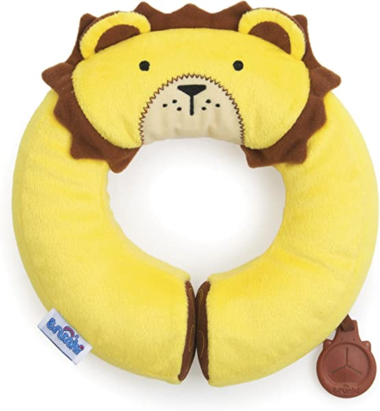 Trunki Kid S Travel Neck Pillow With Magnetic Child S Chin Support Yondi Small Leeroy Lion Yellow