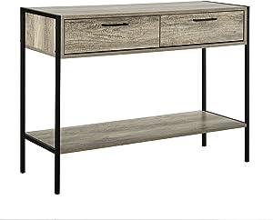 [en.casa] Commode avec 2 tiroirs avec Pieds en Acier Noir et Bois 73cm x 100cm x 35cm