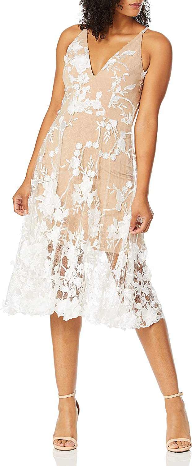Dress the Population Women's Audrey Spaghetti Strap MIDI A-LINE 3D Floral Dress, Off White/Nude, S