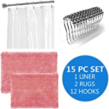Sweet Home Collection 15PC CHIRUG-CLRLINR-HKS-PNK (15 Piece) Bath Set with 2 Bathroom Rugs, Pink