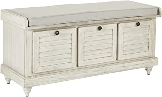 Office Star Dover Storage Bench in White Wash Finish