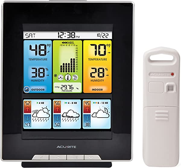 AcuRite 02007 Digital Home Weather Station With Morning Noon And Night Precision Forecast Temperature And Humidity Gauge