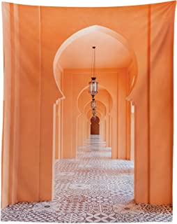 Lunarable Orient Tapestry Twin Size, Moroccan Walkway with Motifs and Elements Visual Oriental Photo, Wall Hanging Bedspread Bed Cover Wall Decor, 68
