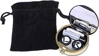 tomtask 香水瓶 コンタクト レンズ ケース セット ミラー 付き 携帯 用 旅行 出張 お泊まり (ブラック)