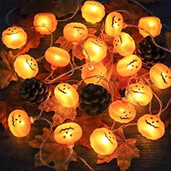 Ivenf Thanksgiving LED Pumpkins String Lights, 3D Hanging 2 Modes Steady Thanksgiving Party Decorations, for Outdoor and Indoor Supplies