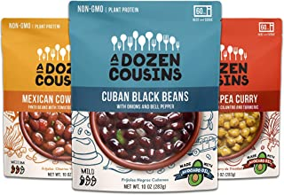 A Dozen Cousins Ready to Eat Beans Variety Pack - Cuban Black Beans, Mexican Cowboy Beans, Trini Chickpea Curry - Vegan Food, Plant Protein for Meals, 10 ounce (Pack of 3)