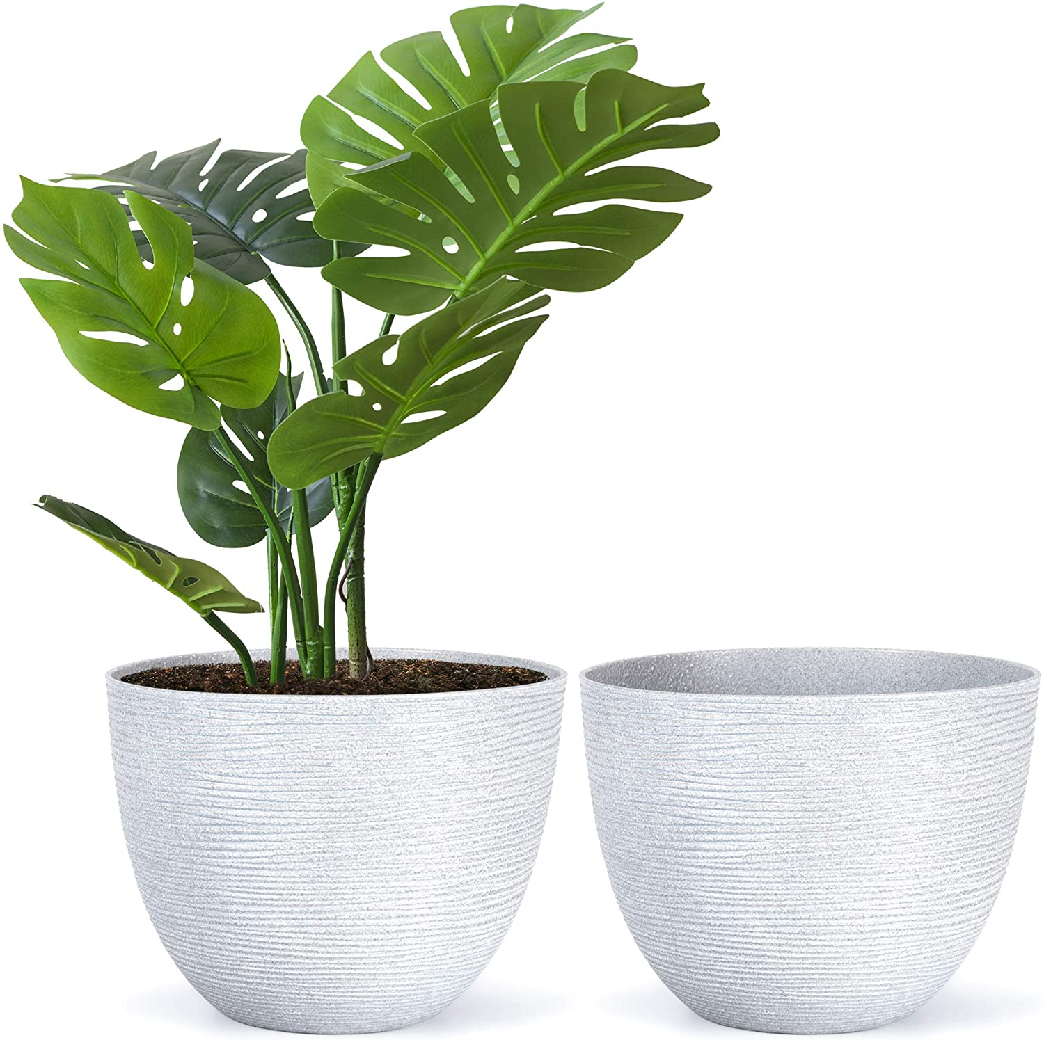 Amazing Creation Large Flower Pots Round Garden Planters for Indoor or Outdoor Gardening, Set of 2 Flowerpots, Big Decorative Stone Grey Plastic Plant Holder with Deeper Root Depth, Reusable Potters