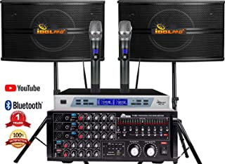 IDOLpro 1300Watts IP-3800 Mixing Amplifier & IPS-590 Speaker Plus Wireless Mic Karaoke System- Free Speaker Cables & Speaker Stands & Mic Windscreens