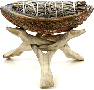 Premium Bundle with 6 Inch or Larger Abalone Shell, Natural Wooden Tripod Stand, and 3 California White Sage Smudge Sticks for Incense Burning, Home Fragrance, Energy Clearing, Yoga, Meditation