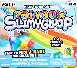 SLIMYGLOOP Make Your Own Rainbow DIY Slime Kit by Horizon Group USA, Mix & Create Super Stretchy, Squishy, Gooey, Putty, Slime- Rainbow Paint Colors Included