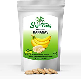 Segufresh Freeze Dried Bananas (2 Pack) 100% Natural Food Product, Nutritious And Delicious Crunchy Gluten-free No Sugar Unsweetened Fruit, No Additives, Healthiest Snacks Pack Ever In Resealable