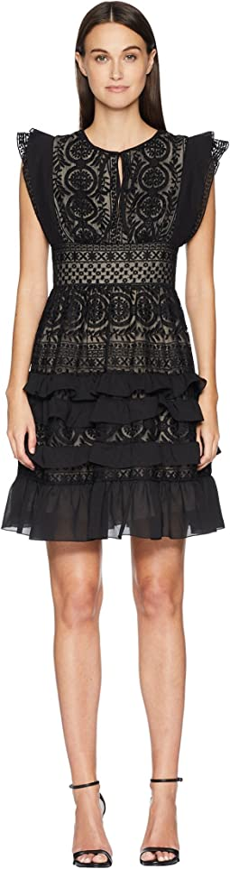 Dress with Keyhole Detail and Skirt Ruffle