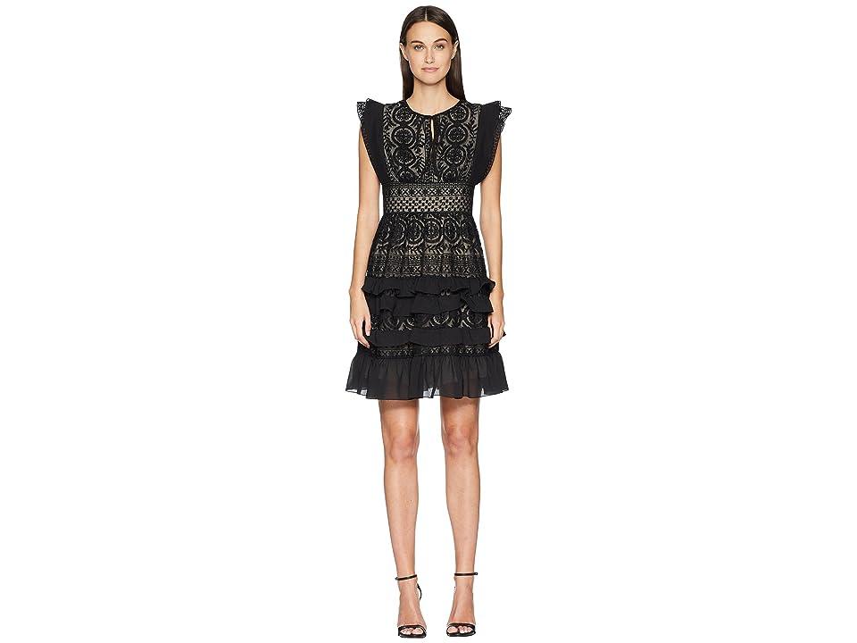 ML Monique Lhuillier - ML Monique Lhuillier Dress with Keyhole Detail and Skirt Ruffle