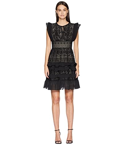 ML Monique Lhuillier Dress with Keyhole Detail and Skirt Ruffle (Black) Women