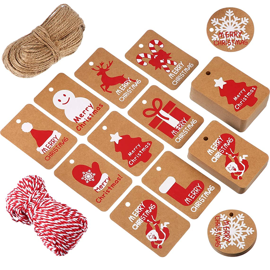 Tatuo 200 Pieces Kraft Paper Gift Tags Crafts Hang Label Holiday Tag in 10 Styles Christmas Patterns with 295 Feet Twine for Christmas Winter Theme Party Wedding Birthday Gift Wrapping