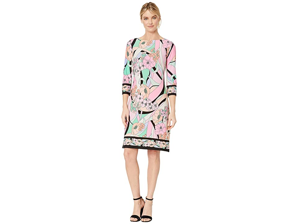 London Times Pucci Garden 3/4 Sleeve Shift (Pink/Coral) Women