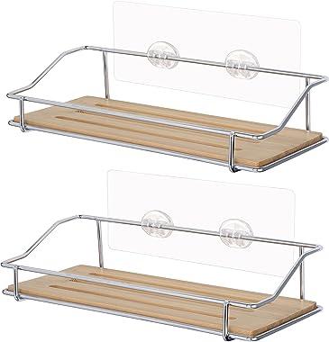 Bamboo Shower Caddy Bathroom Shelf for Inside a Shower, Wood Shower Rack Storage Organizer for Razor, Conditioner, and Shampo
