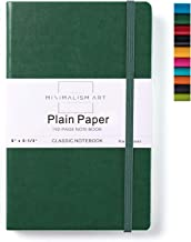 Minimalism Art, Classic Notebook Journal, A5 Size 5 X 8.3 inches, Green, Plain Blank Page, 192 Pages, Hard Cover, Fine PU Leather, Inner Pocket, Quality Paper-100gsm, Designed in San Francisco