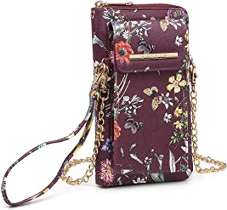 Women Small Crossbody Bag Cellphone Purse Long Zipper Around Wallet Case Clutch with Eight Card Slots and Removable Wristlet