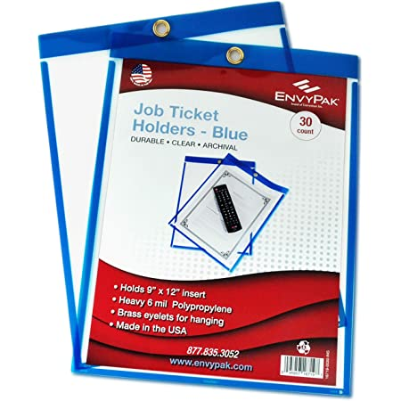 9x12 Top-Loading with Eyelet for Hanging Job Ticket Holders Pack of 30 Blue