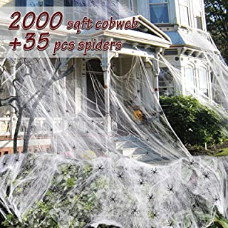 NORSENS 2000 sqft Large Spider Webs Halloween Decorations with 35 Plastic Fake Spiders, Stretchy Cobwebs for Halloween Decorations Indoor Outdoor