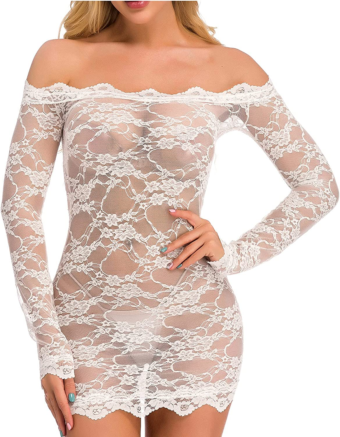 Womens Sexy Lingerie Chemise Lace Babydoll See Through Bodysuit Lingerie Off The Shoulder Long-Sleeved Pajamas