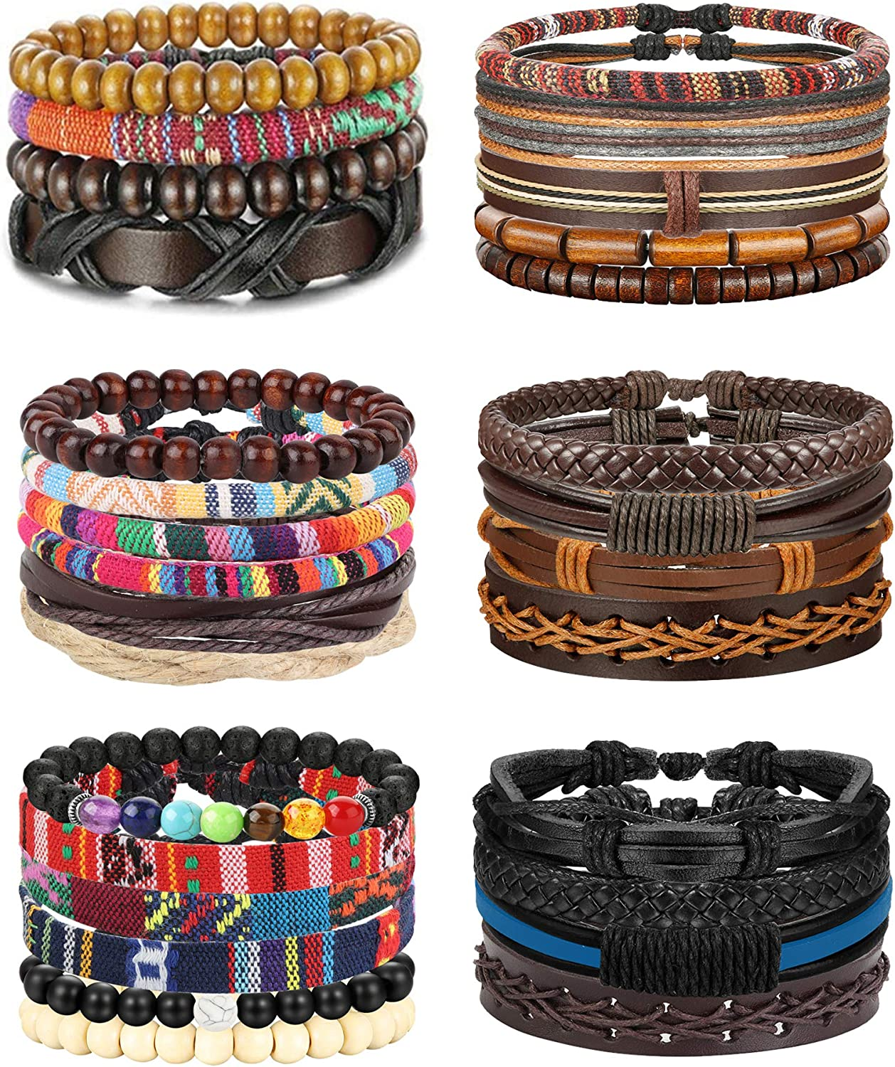 FIBO STEEL 29Pcs Braided Leather Women Easy-to-use Ranking TOP17 Men Wooden Bracelets for