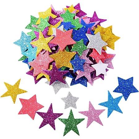 Pegatina de Espuma Brillante Pegatina de Estrella Autoadhesiva para Decoración de Fiesta de Halloween Navidad, Colores y Tamaños Variados, 5 Sets