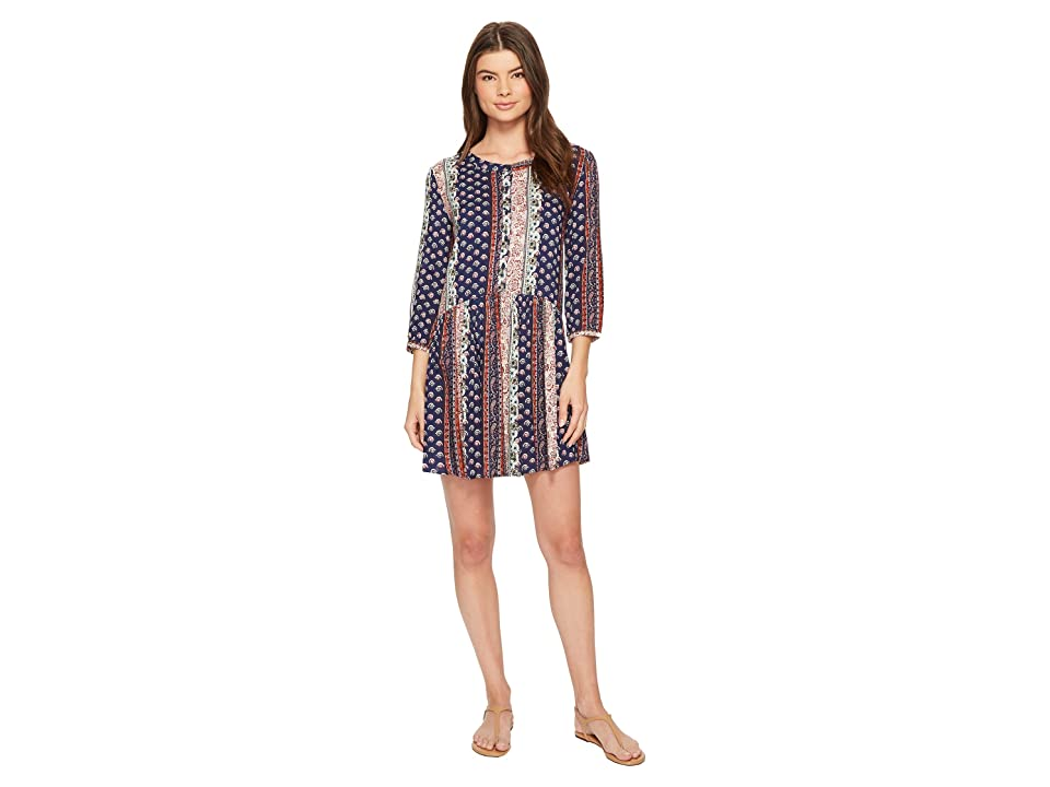 Roper 1385 Border Print Rayon Long Sleeve Dress (Blue) Women